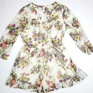 Band of Gypsies White Floral Boho Romper Sz Small
